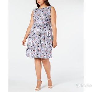 ANNE KLEIN Navy Dot Print Dress A-Line Belted NWT